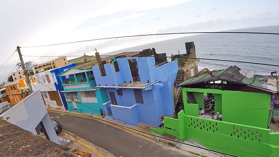 Colourful houses by the Caribbean sea in San-Juan Puerto-Rico