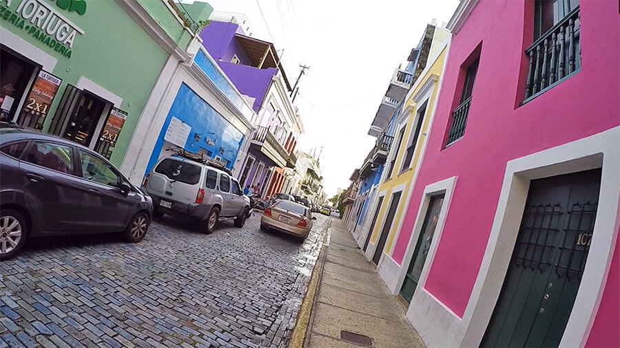 Paved street with colourful buildings in San Juan Puerto Rico