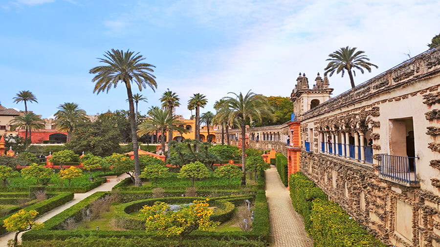 Gardens at Real Alcazar Palace in Seville, city of ceramic tiles