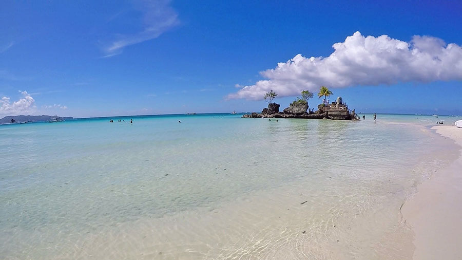 Spectacular Willy's rock beach at station 1 Boracay Philippines