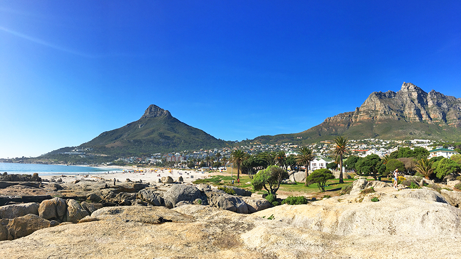 Cape Town's spectacular scenery at Camps Bay beach with Lion's Head in the background
