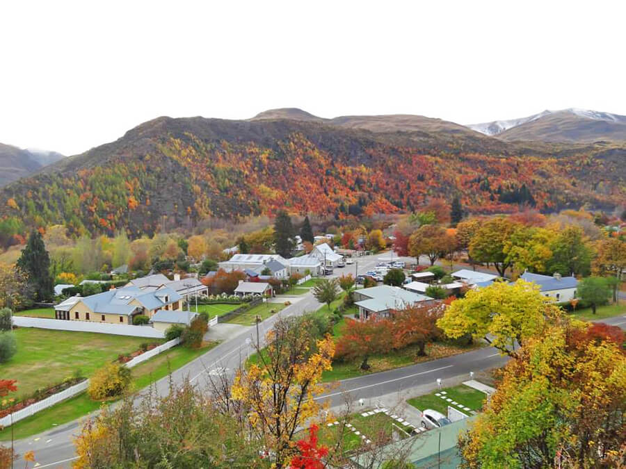 View of Arrowtown while hiking up the hill