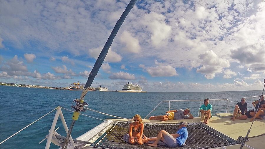 Celebrity Equinox seen in the distance from the catamaran cruise