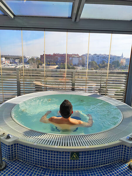 Relaxing time in the jacuzzi at Hotel Ribera de Triana, Seville