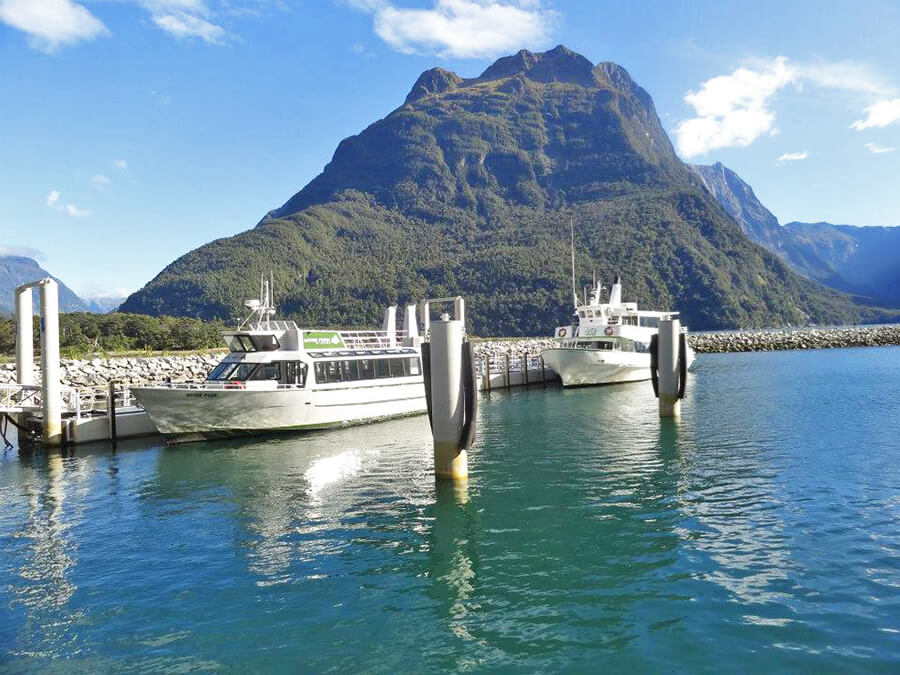 Little passenger boat in Milford Sound, New Zealand's South Island