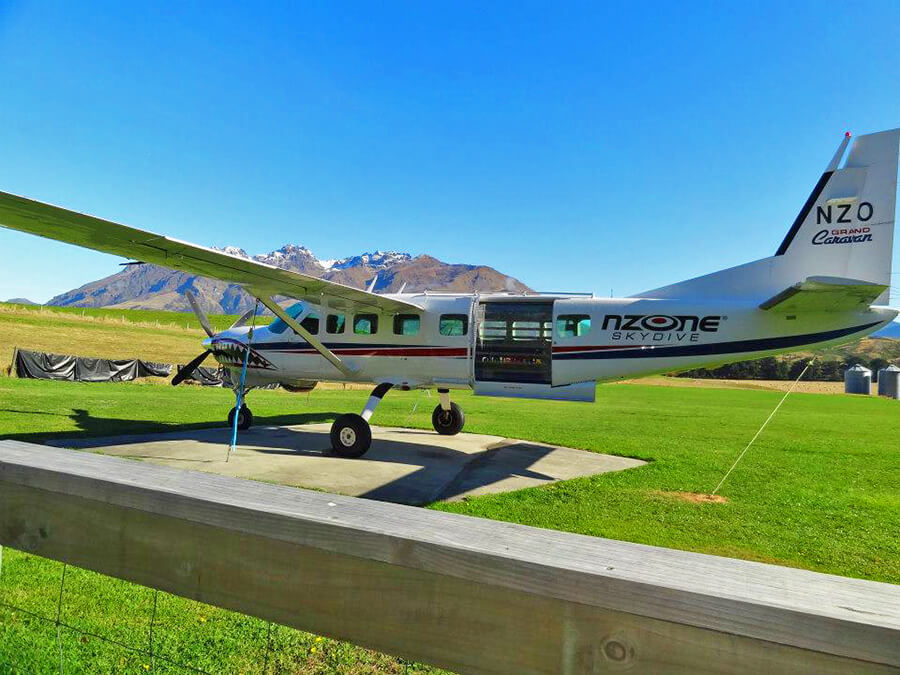 boarding Nzone skydive airplane in Queenstown
