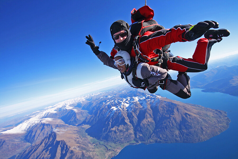 Skydiving above Queenstown lake