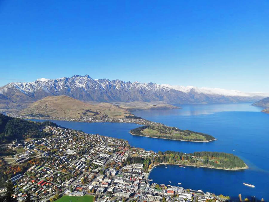 view of Queenstown in New Zealand south island