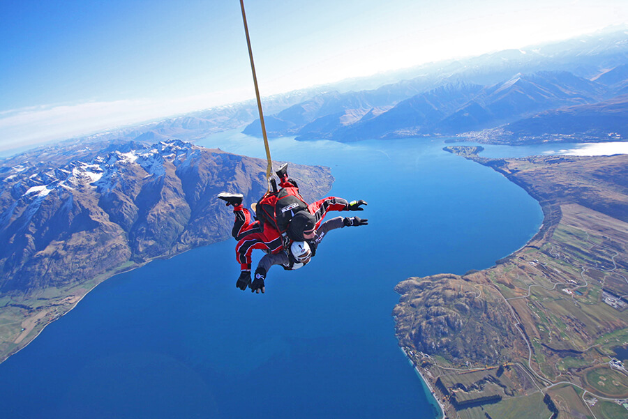 Nzone Skydive above Queenstown Lake, New Zealand