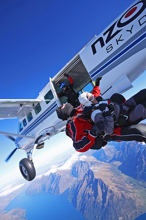 Jumping of the airplane at Nzone Skydiving South Island