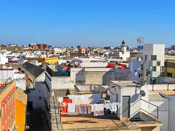 View of Seville from the rooftop bar of Hotel Ribera de Triana