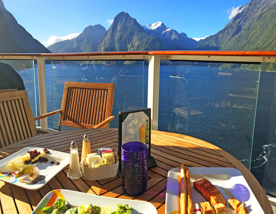 admiring the view of the Milford Sound while having lunch onboard Celebrity Solstice