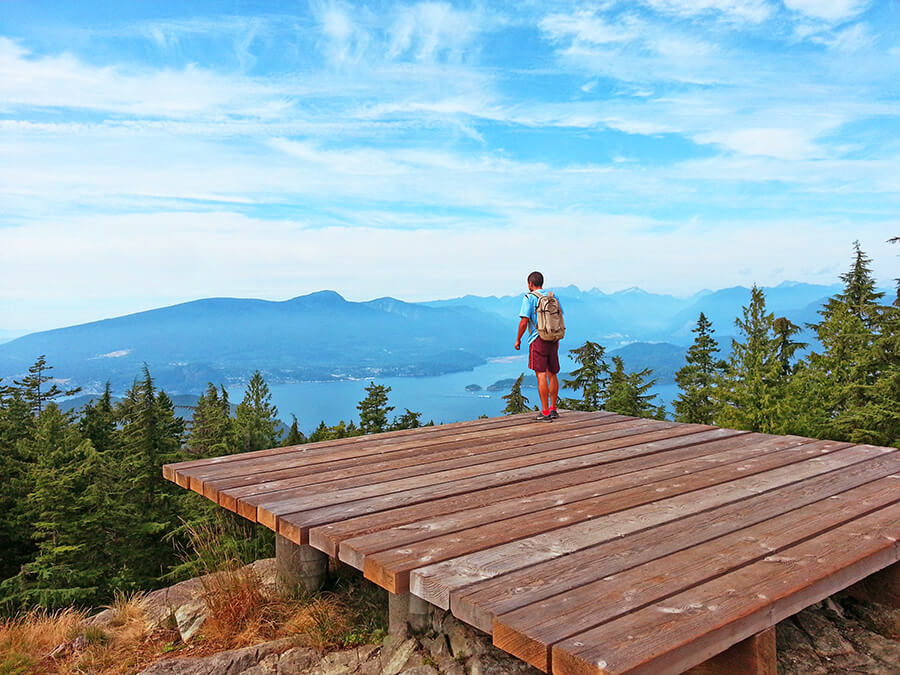 Helicopter pad at Mount Gardner summit offers an amazing view