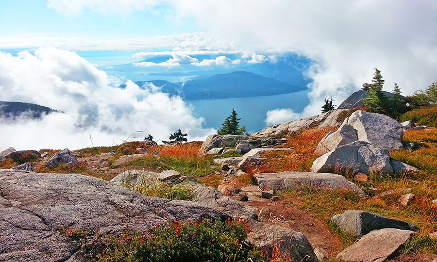 Overlooking Lions Bay above the clouds in West Lions, British Columbia