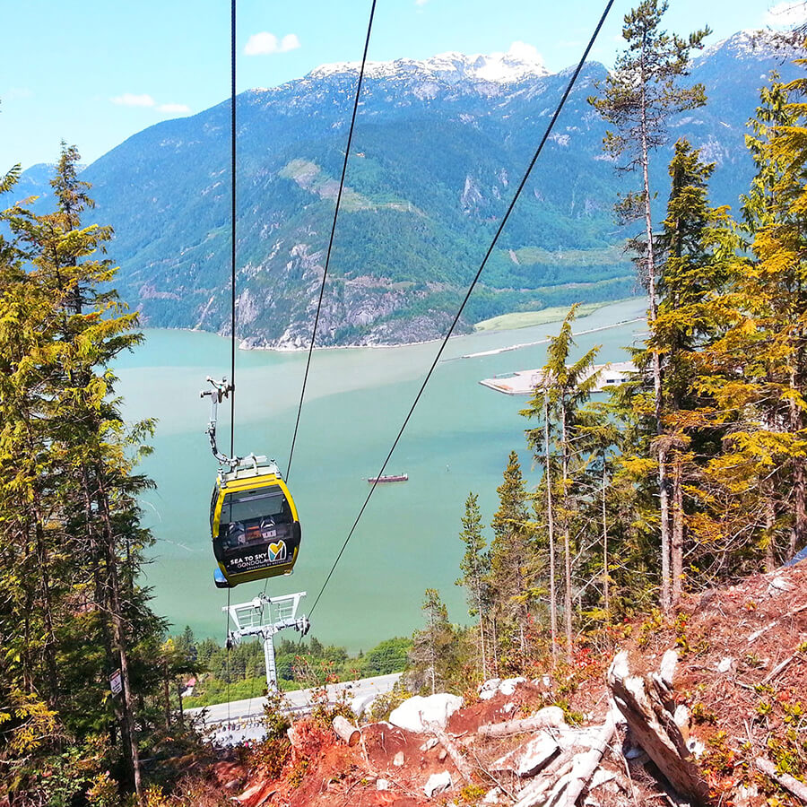 Cable car taking you to the summit of Sea to Sky Gondola in Squamish